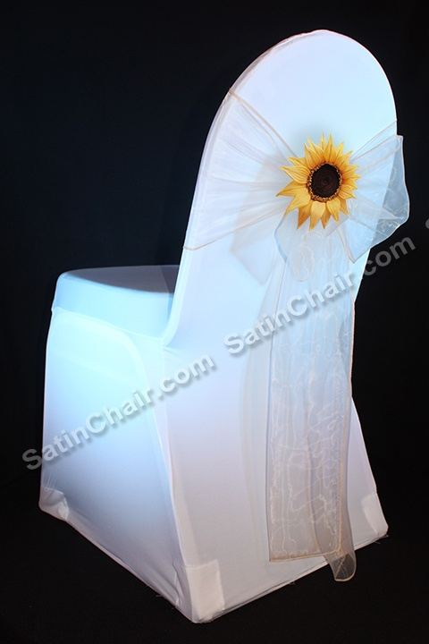 """Sunflower client """"add on"""" to Spandex white chair cover and white organza sash from SatinChair.com event decor in Chicago IL"""