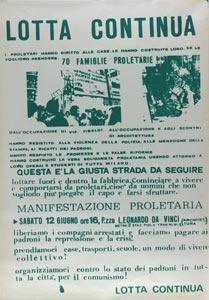 Manifesto di Lotta Continua sull'occupazione delle case, 1970.