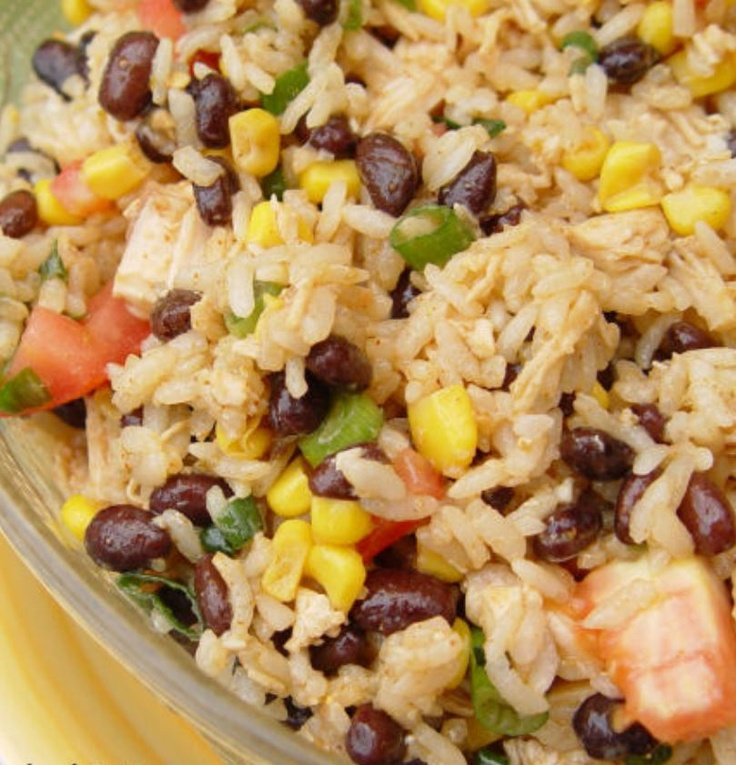 Mexican Rice Salad - http://jamiecooksitup.net/2010/05/mexican-rice-salad-super-yummy/