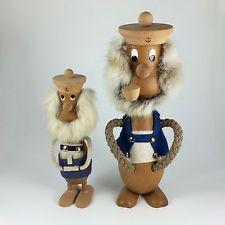 Pair of Teak Viking Sailor Figurines with Real Fur Made in Denmark Danish Modern