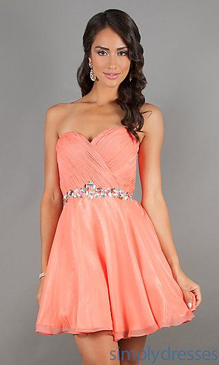 Strapless Party Dress in Coral by Alyce 3547 at SimplyDresses.com