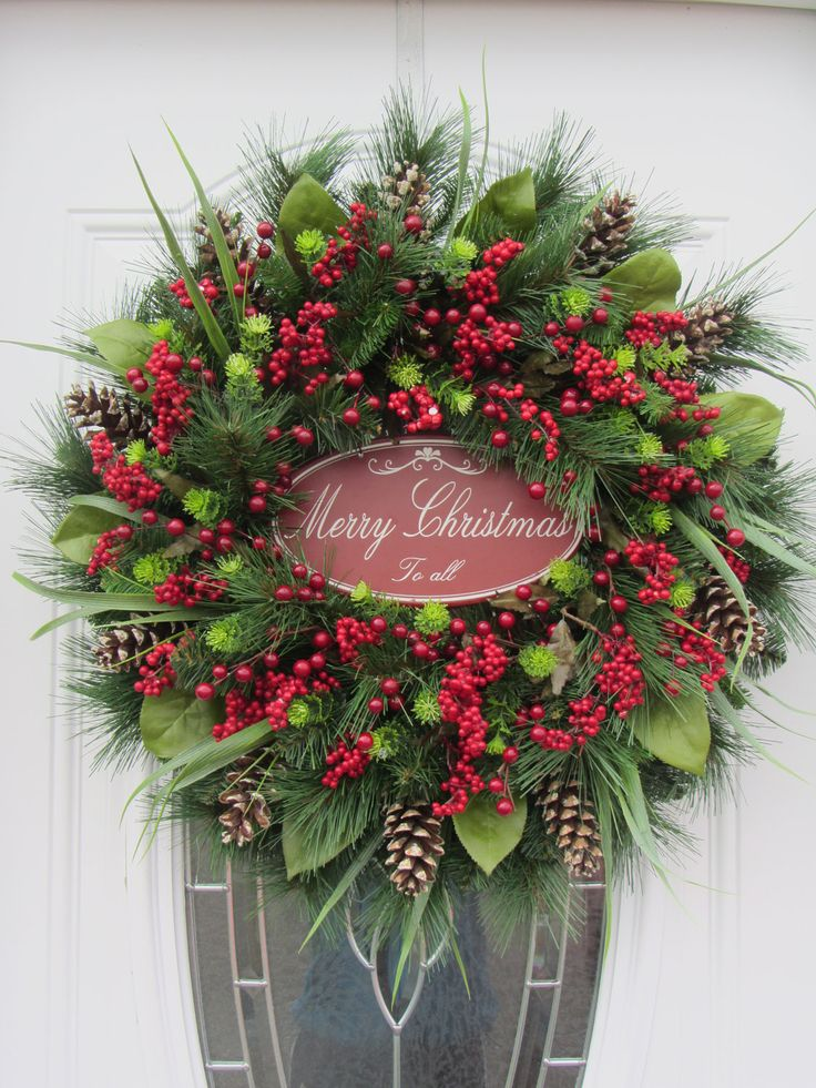 Christmas Door Wreath - Holiday Wreath - Pine Wreath - Winter Wreath. $124.95, via Etsy.
