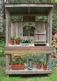 Free-standing potting bench and shed - http://inspirebohemia.blogspot.com/2011/08/garden-potting-benches-sinks-and-tools.html