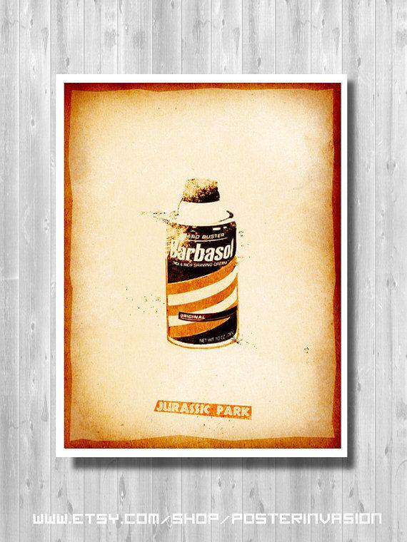 Jurassic Barbasol Poster, Jurassic Park, Jurassic World, Vintage, Print, Minimalist, Movie poster, Dinosaur, Home & Living, Decor
