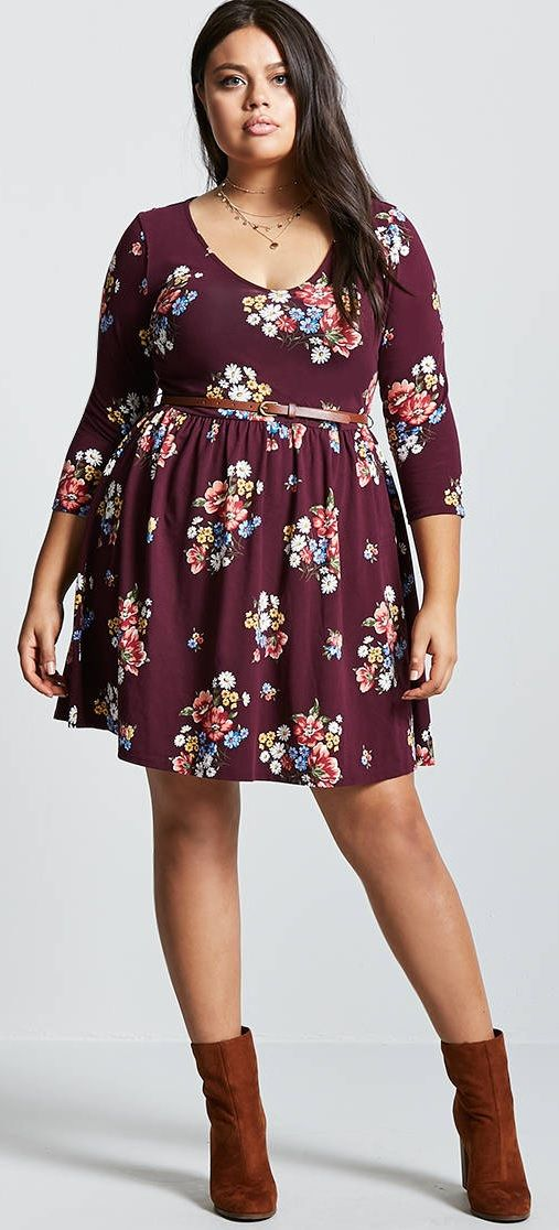 Plus Size Belted Floral Mini Dress #plussize #fall