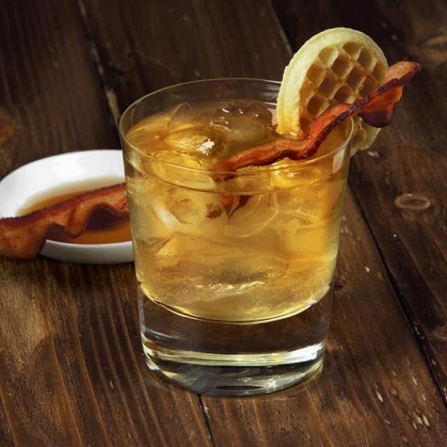 Mmm breakfast....bacon, waffle, and buffalo trace bourbon