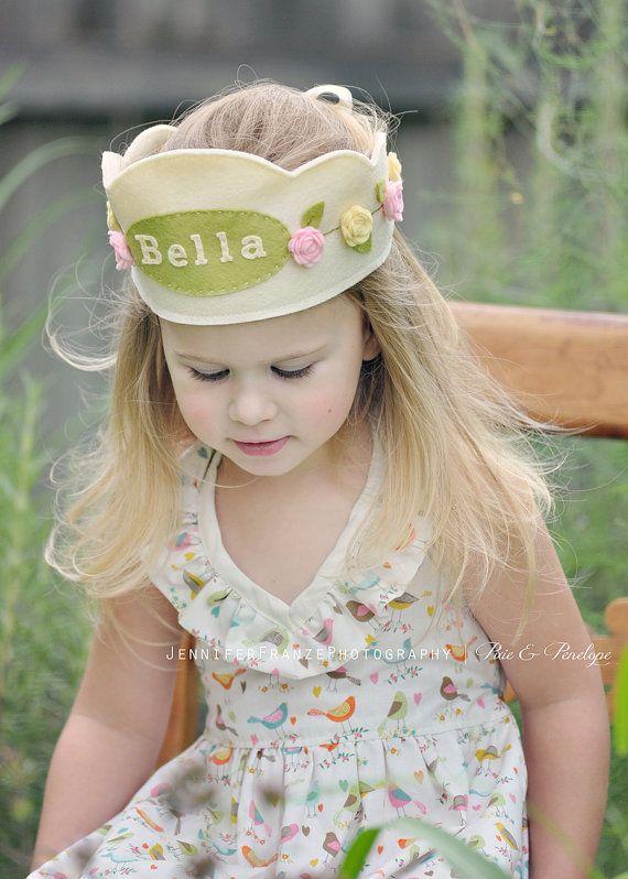 Felt Rose Princess Crown, Personalized, Dress up, Birthday