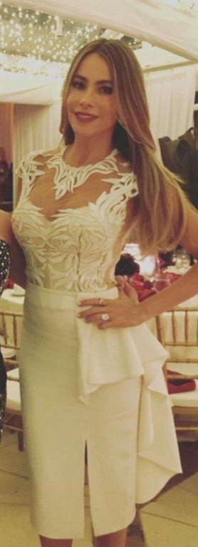Who made  Sofía Vergara's white lace dress?