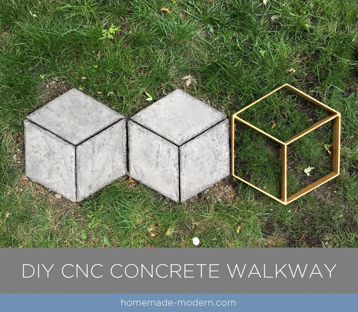 These modular modern concrete pavers was made from Quikrete 5000. The forms for the pieces were made with small CNC machine. For more information go to HomeMade-Modern.com