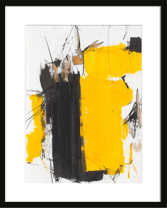 Abstract Oil painting on paper Black Yellow on white by kuzennyArt