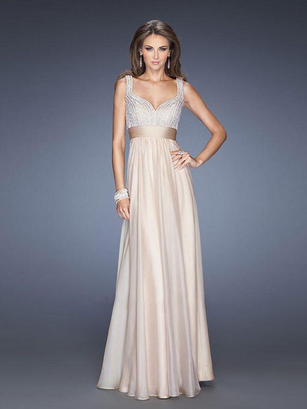 Sheath/Column Spaghetti Straps Sleeveless Chiffon Prom Dresses/Evening Dresses With Beaded #BK388