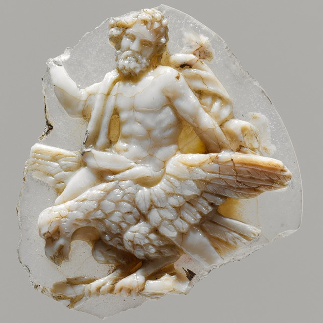 Cameo fragment with Jupiter astride an eagle, 1st century B.C.–1st century A.D.  Roman (or possibly Late Hellenistic)  Sardonyx