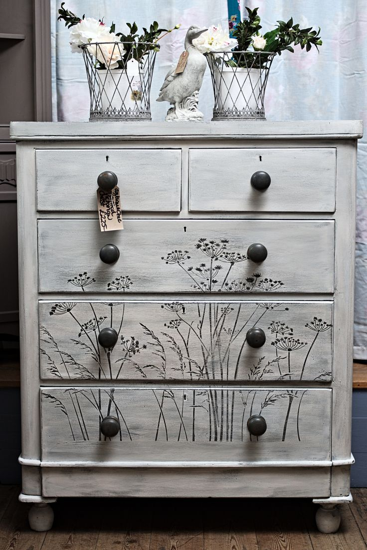 Victorian chest of drawers. This one has been given the weathered paint  look in grey