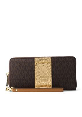 Michael Michael Kors Jet Set Travel Logo And Embossed-Leather Continental Wristlet - Brown - One Size
