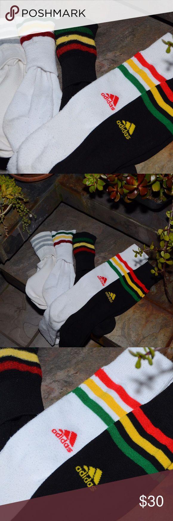 Tall Rasta Adidas Sock Lot Bundle Great tall socks, Rasta print and stripes, black and white socks, men's small or women's. Each pair was originally $17.99, barely worn socks. Adidas Other