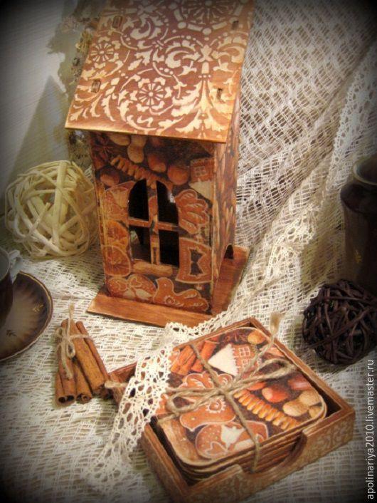 Купить Пряничный домик... - коричневый, чайный домик, подставка под горячее, подставки под чашки