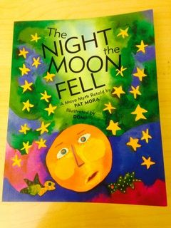 """""""A WHOOSH from her grandfather's blowgun causes Luna, the moon, to tumble from the sky and fall to pieces in the dark ocean. In this beautifully retold Maya legend, the moon must come to her own rescue, enlisting the help of little fish to glue her back together."""""""
