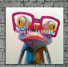 Cartoon Dier Abstracte Olieverf Kikker Draagt Bril Muurstickers voor Kinderen Kamers voor Woonkamer Slaapkamer Eetkamer Kantoor Cafe(China (Mainland))