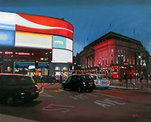 """Seeing red, London by Michael John Ashcroft Oil ~ 20"""" x 24"""""""