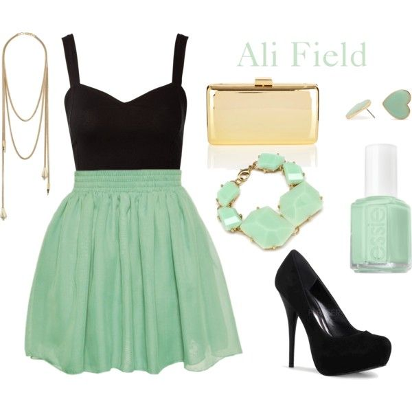 """""""Mint"""" outfit for St. Patrick's Day!!Too cute :-): Mint Green, Fashion, Style, Color, Dream Closet, Clothes, Dress, Black Outfit, Mint Outfits"""