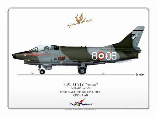 FIAT G-91Y     ITALIAN AIR FORCE . AERONAUTICA MILITARE ITALIANA  8° Stormo, 101° Gruppo Caccia Bombardieri Ricognitori  Cervia AB  Manufacturer: FIAT  Model: G-91Y Yankee  Serial s/n: M.M.6450  Tail Code: 8-06