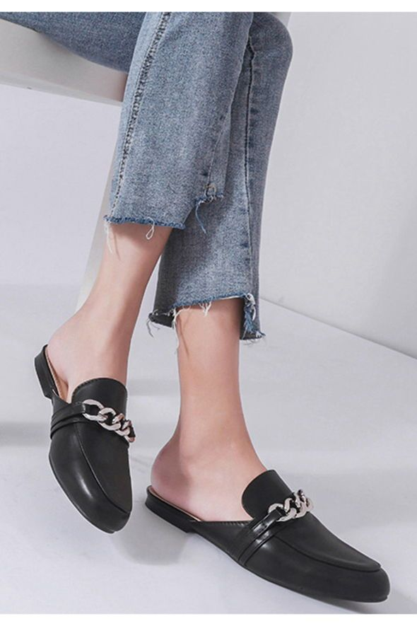 Chain Flat Mules -Black | Black mules outfit, Flat mules, Mule shoes outfit