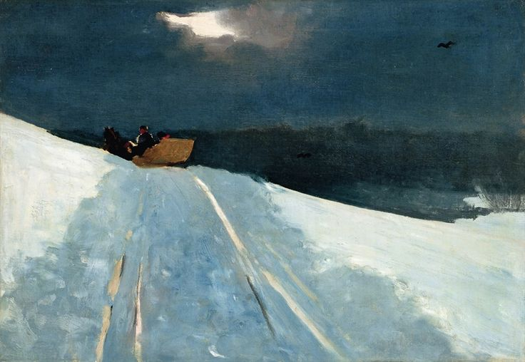 Winslow Homer (American, Realism, 1836-1910) Sleigh Ride, c. 1890–95 Oil on canvas, 35.7 × 51 cm (14.1 × 20.1 inches) Sterling and Franc...