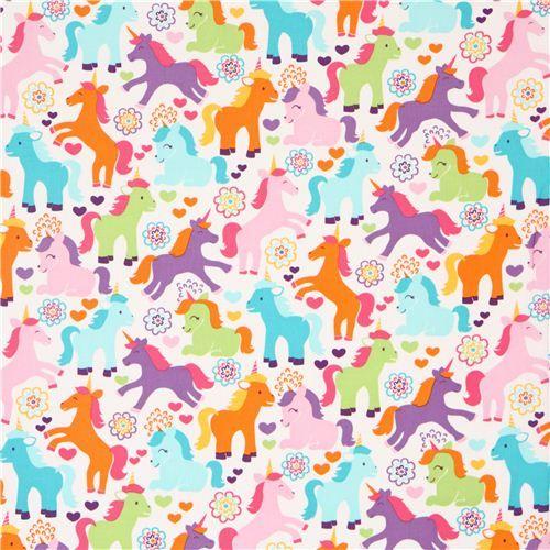 cute fairy tale unicorn fabric colourful Michael Miller USA 2