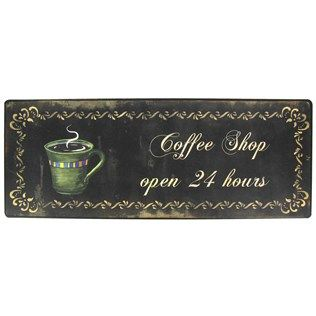 """Accent décor with this Coffee Shop Open 24 Hours Tin Sign.    Made to hang on the wall, the tin sign measures approximately 15 1/2"""" x 6""""."""