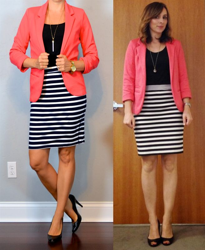 outfit post: coral blazer, striped jersey pencil skirt, black pumps http://outfitposts.com/2016/07/outfit-post.html?utm_campaign=coschedule&utm_source=pinterest&utm_medium=Outfit%20Posts&utm_content=outfit%20post%3A%20coral%20blazer%2C%20striped%20jersey%20pencil%20skirt%2C%20black%20pumps