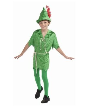 Peter Pan Boy Costume - Peter Pan Disney Boys Costume includes green velvet tunic with rope lacing at chest, rope belt, matching hat with red feather, and green tights.