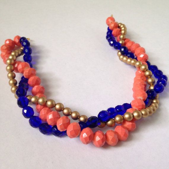 Coral blue and gold color block necklace  by ExperimentalOwl