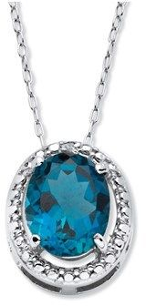 Seta Jewelry 3.50 Tcw Genuine Oval London Blue Topaz And Diamond Accent Halo Necklace In .925 Sterling Silver.