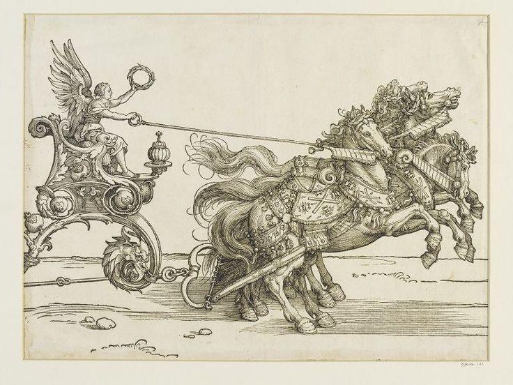 Albrecht Dürer Horses of Maximilian's Car,  (A.89), woodcut, Triumphal procession of Emperor Maximilian I., ca. 1516 - 1519, 1516-18, V&A Search the Collections