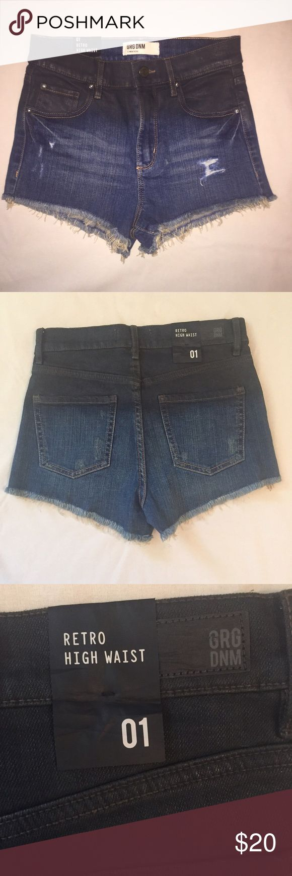 GRG DNM Retro High Waist Hombre Denim Shorts Really cute and tendu vintage high wasted denim shorts. Distressed style featuring hombre that fades from black to denim color. New with tags/never worn! Unique shorts that are super flattering and great for summer! Urban Outfitters Shorts