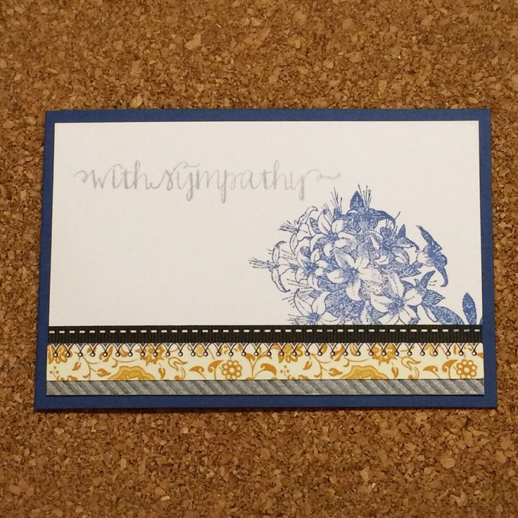 Hand stamped With Sympathy card