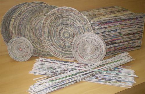 Como fazer canudos de jornal - Artesanato passo a passo!