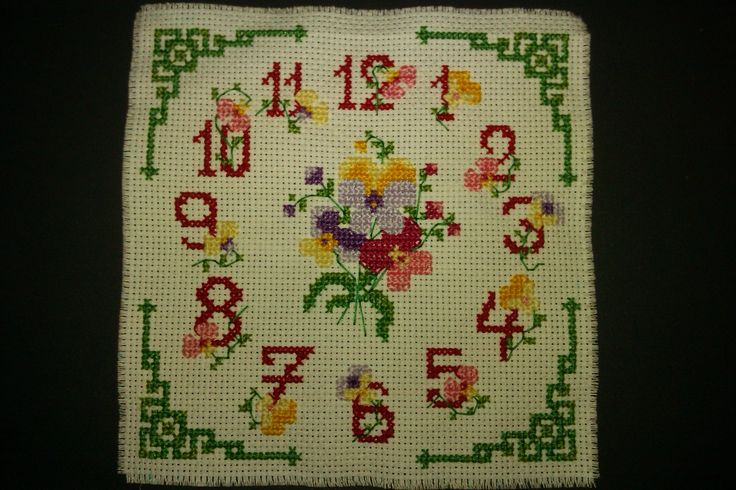 xstitched floral clock