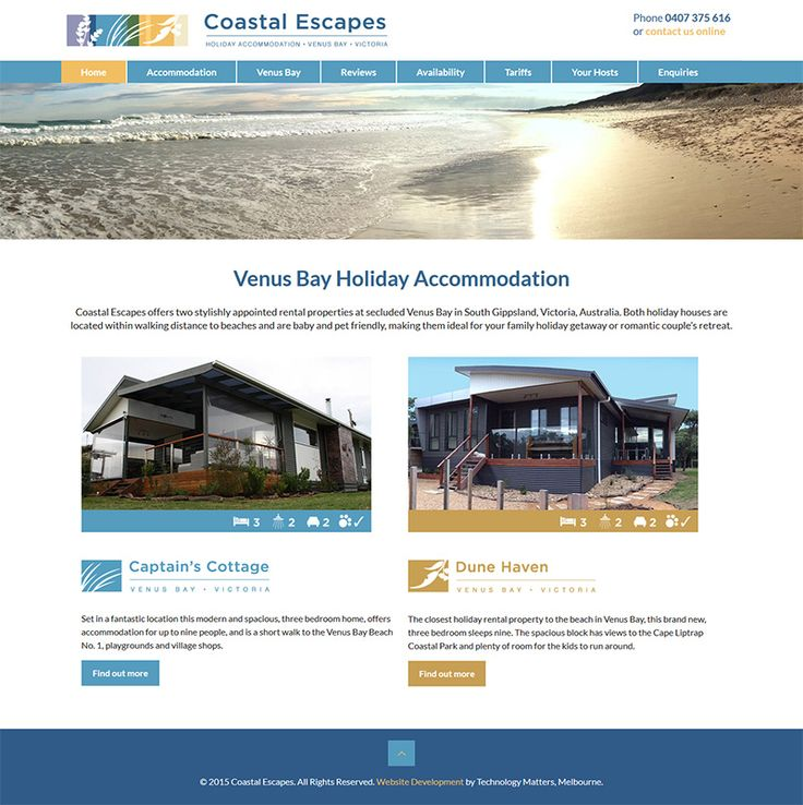 OUR PORTFOLIO Coastal Escapes -Technology Matters, web designers and developers in  Melbourne.