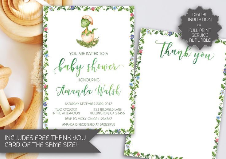 Dinosaur Baby Shower Invitation | Printable Invitation | Baby Dinosaur | Watercolour Baby Shower Invitation | Floral Baby Shower (047) by kellylouisedesigns on Etsy