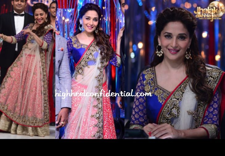 Jhalak Dikhhla Jaa is back for its 6th season which means a lot of Madhuri posts for you guys. The premiere weekend saw her first in a Vikram Phadnis lehenga and on Sunday, it is a sheer sari.