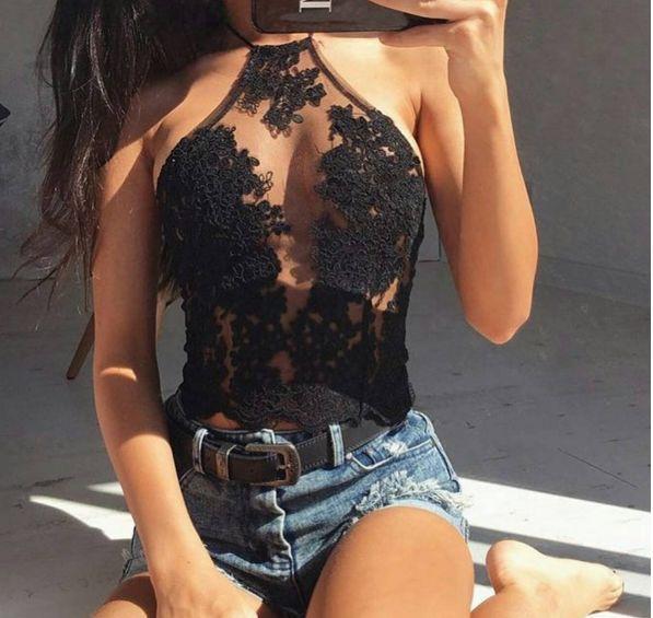 Black Catalina Paparazzi Crop Top
