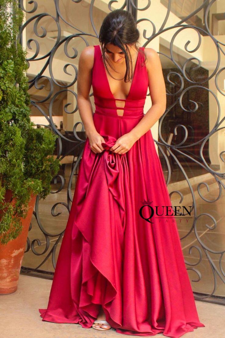 Einzigartige rückenfreie tiefe V-Ausschnitt Weinrot Satin lange Prom Kleider Abendkleider mit …   – Long Prom Dresses