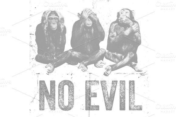 Wise Monkeys Vector Illustration by Offset on Creative Market
