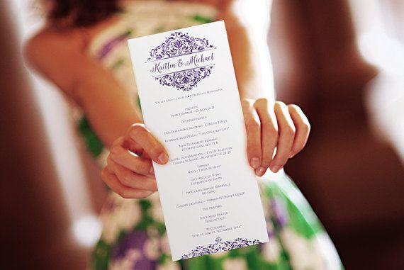 SALE! DiY Wedding Program Template - Instant Download - EDITABLE TEXT - Natalia (Faded Eggplant) Tea Length - Microsoft® Word Format