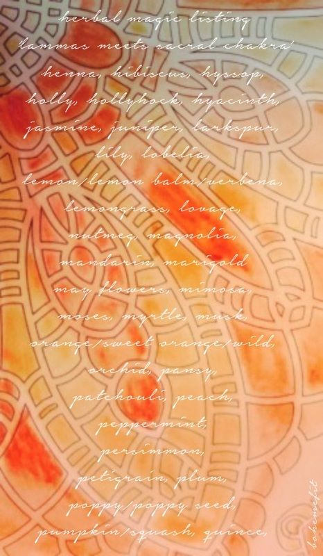 ✧☽ herbal magic listing 'lammas meets sacral chakra' ☾✧ bohemefit