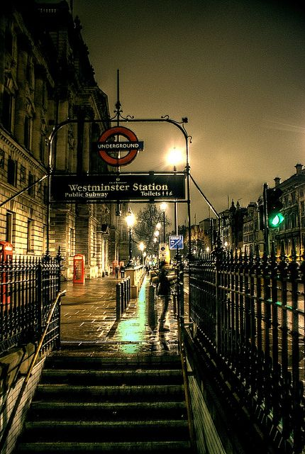 Westminster station, London - this is your stop for Houses of Parliament, 10 Downing Street and Westminster Cathedral