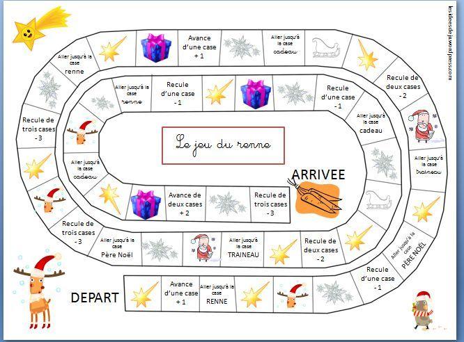 Un nouvel article aujourd'hui pour vous proposer un petit jeu que j'ai crée moi-même pour les périodes de Noël avec des élèves de GS voire de CP. C'est un jeu de l'oie perme…