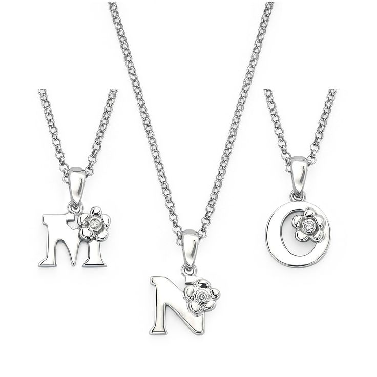 Little Diva Diamonds 925 Sterling Silver Diamond Accent Initial Pendant Necklace
