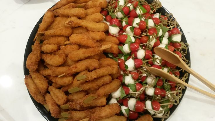 We love #catering #nyc #office #events! Today we served up #coconut #shrimp and #caprese #skewers!